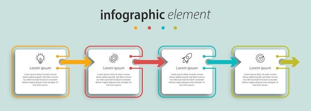 Vier infografik präsentation