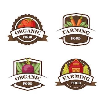 Vier isolierte bunte etiketten mit karotten-tomaten-rote-bete- und lagersymbolen und bearbeitbaren bildunterschriften