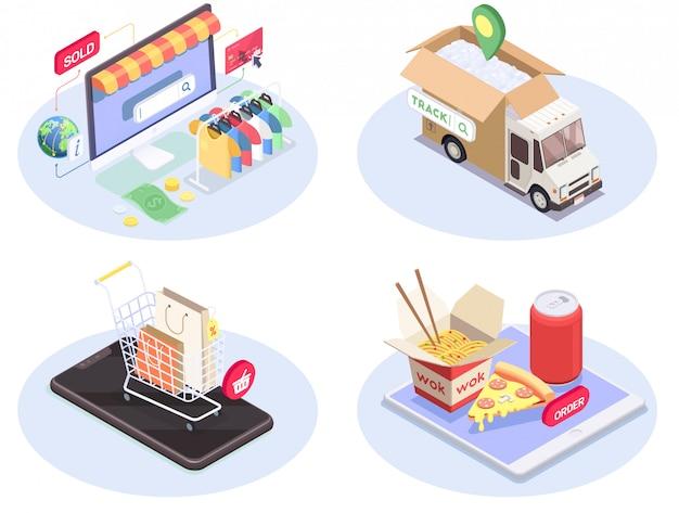 Vier isometrische kompositionen für den e-commerce beim einkaufen mit konzeptionellen bildern von piktogrammen der unterhaltungselektronik und warenvektorillustration