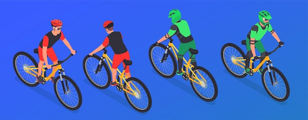 Vier isometrische mountainbiker