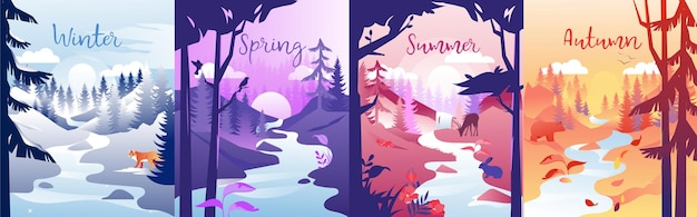 Vier jahreszeiten konzept illustration. komposition mit winter, frühling, sommer und herbst. bunte clipart einer lokalität in verschiedenen zeiten. natur mit kleinem fluss, bäumen, sonne und tieren.