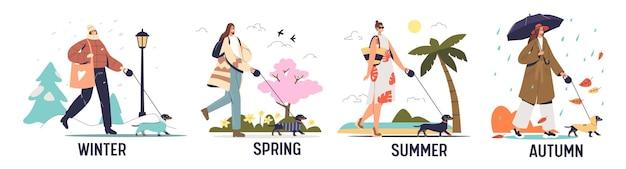 Vier jahreszeiten mit süßer frau, die mit hund an der leine spazieren geht und saisonale kleidung im herbst-, frühlings-, sommer- und winterpark trägt. flache vektorillustration der karikatur