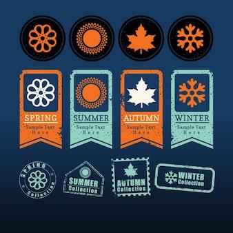 Vier jahreszeiten zeichen symbol etikett