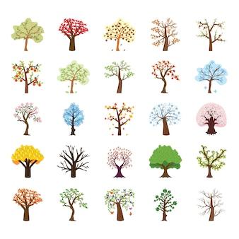 Vier jahreszeitenbaum flache vektor-ikonen-satz
