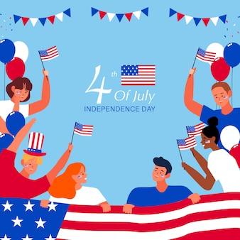 Vier juli unabhängigkeitstag. die leute schütteln die nationalflagge
