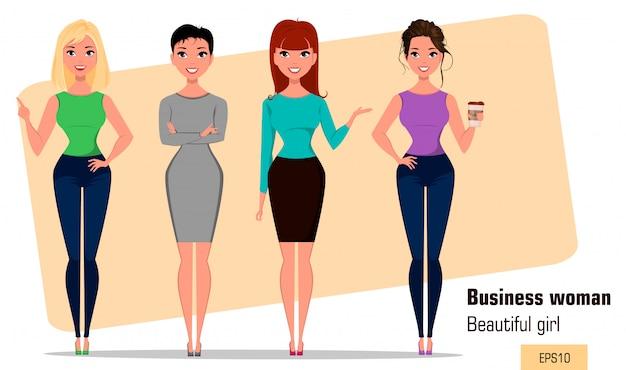 Vier junge karikaturgeschäftsfrauen. einstellen