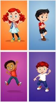 Vier kinder auf unterschiedlichen hintergrund