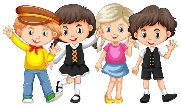 Vier kinder, die hände winken