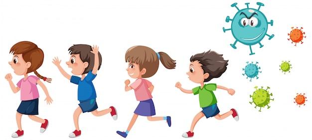 Vier kinder, die vom isolierten coronavirus-symbol weglaufen