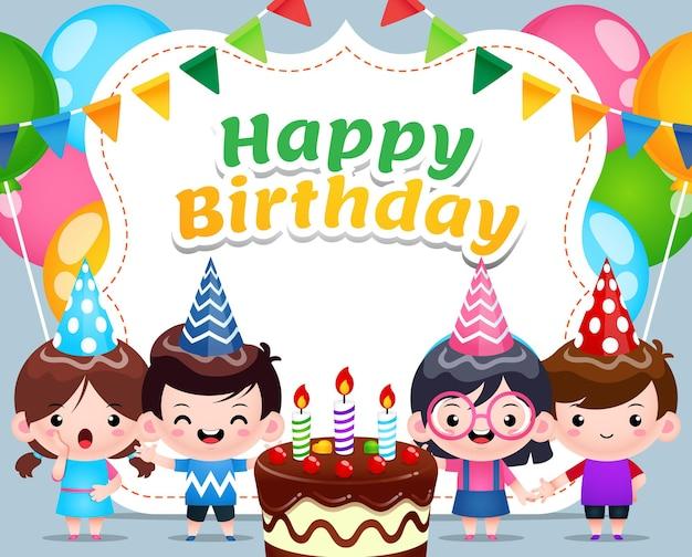 Vier kinder feiern happy birthday banner