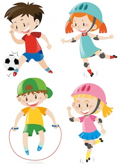 Vier kinder machen verschiedene sportarten