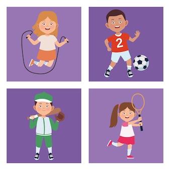 Vier kinderaktivitäten