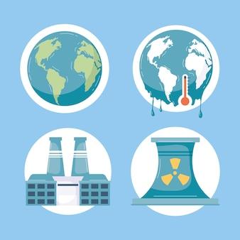 Vier klimawandel-symbole