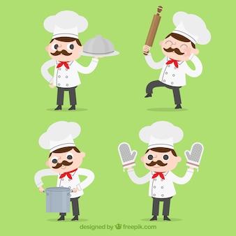 Vier kochfiguren mit verschiedenen accessoires