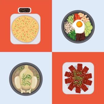 Vier koreanische lebensmittelsymbole