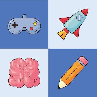 Vier kreative symbole