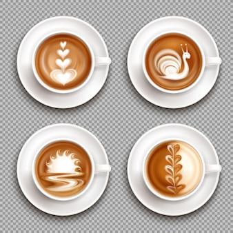 Vier latte art draufsicht-symbol gesetzt mit weißen kunstkompositionen auf der oberen illustration