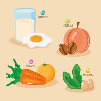 Vier lebensmittel mit mineralien