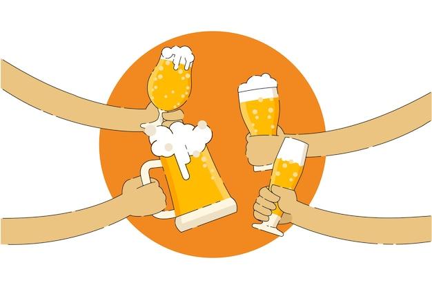 Vier leute, die bierflaschen in der bar halten
