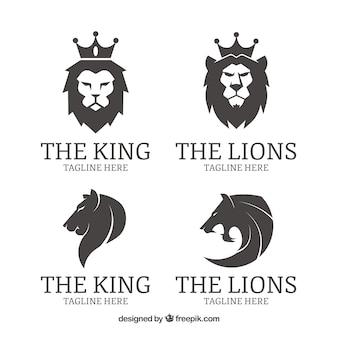 Vier löwenlogos, schwarz und weiß