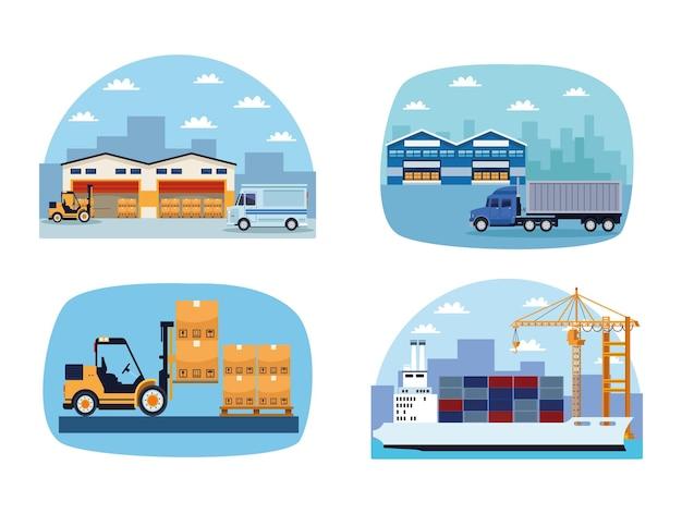 Vier logistiksymbole