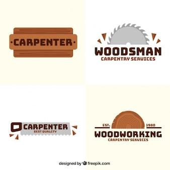 Vier logos für zimmerei