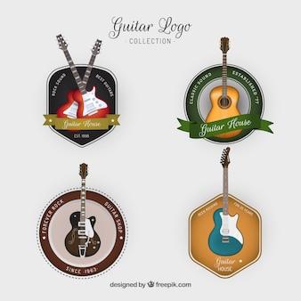 Vier logos gitarren im vintage-stil