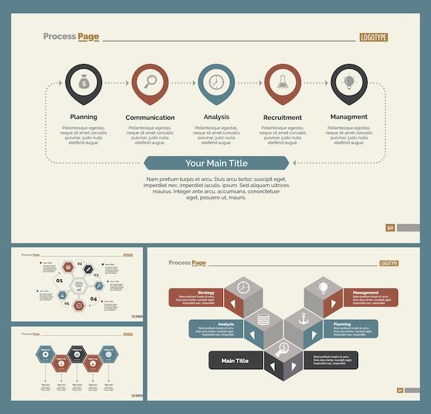 Vier management slide vorlagen set
