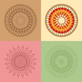 Vier mandala-symbole