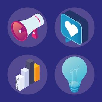 Vier medien-marketing-clipart-set