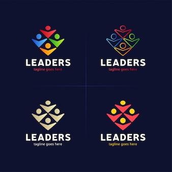 Vier menschliche gruppe mit anführer- oder chefikone logo element.