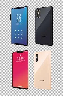 Vier modell-smartphones.