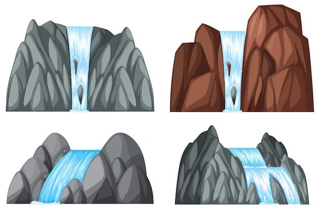 Vier muster von wasserfall und felsen