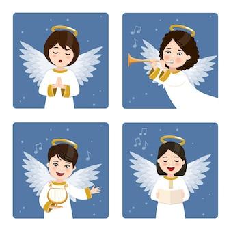 Vier niedliche und musikalische engel, die auf einem dunklen himmel mit sternenhintergrund gesetzt werden.