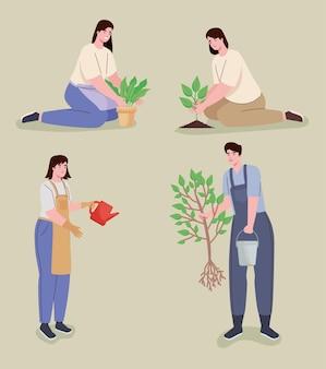 Vier personen, die charaktere pflanzen