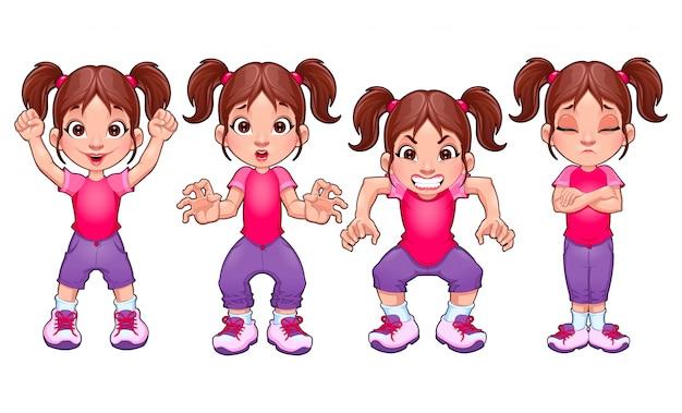 Vier posen aus dem gleichen mädchen in verschiedenen ausdrücken vector cartoon isoliert zeichen