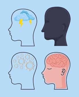 Vier psychische gesundheitsprofile