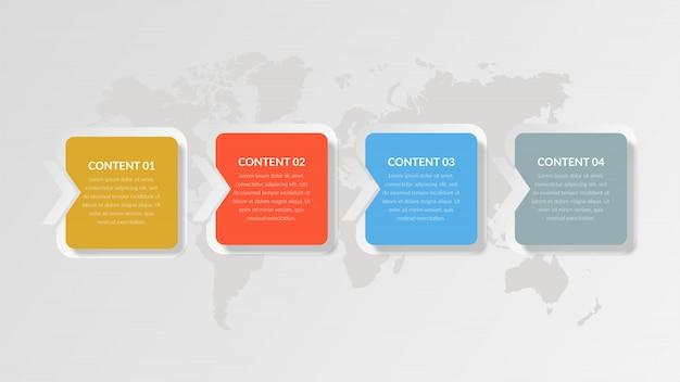 Vier-punkte-geschäftsstrategie für abstrakte infografik-elemente