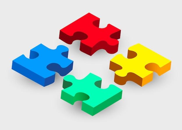 Vier puzzleteile auf grau