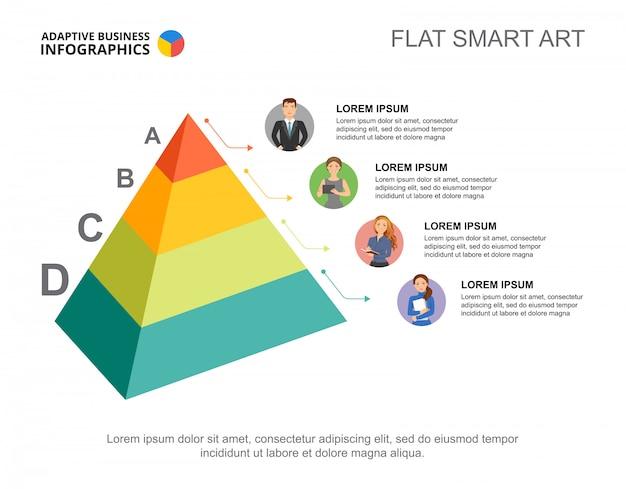 Vier pyramidenebenen verarbeiten diagrammvorlage für präsentation.