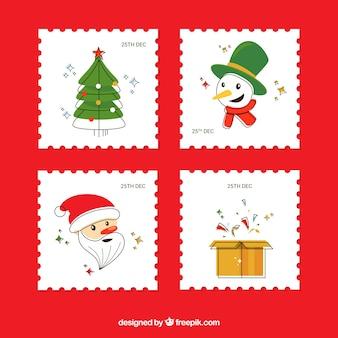 Vier quadratische hand gezeichnete weihnachtsstempel