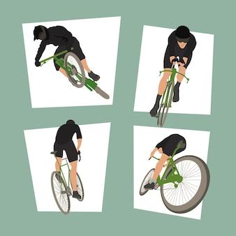 Vier radfahrer sport set icons