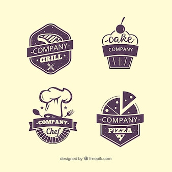 Vier restaurant-etiketten