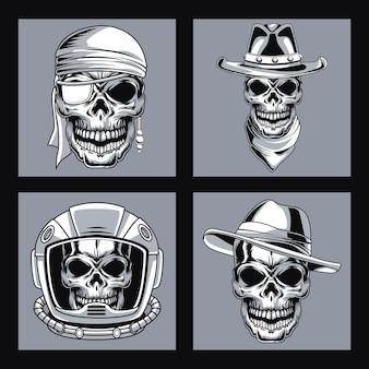 Vier schädelköpfe gezeichneter stil