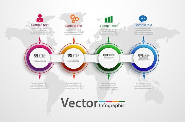 Vier schritte abstrakte infografiken anzahl optionen vorlage