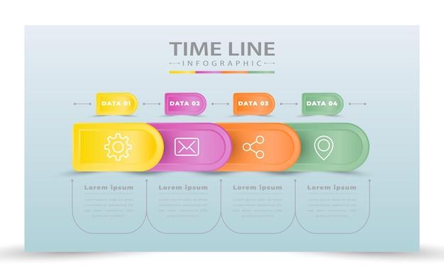Vier schritte business-infografiken Premium Vektoren