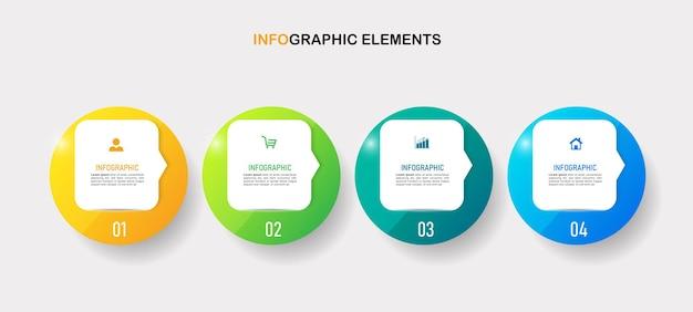 Vier schritte business-infografiken