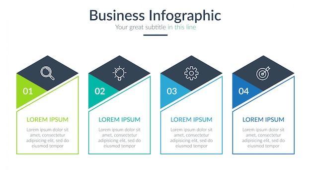 Vier schritte geschäft infografik