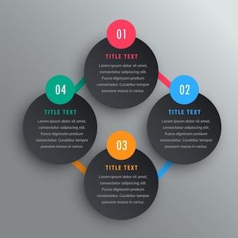Vier schritte infografik chart design in dunklen thema