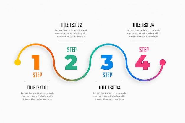 Vier schritte infografik timeline-vorlage